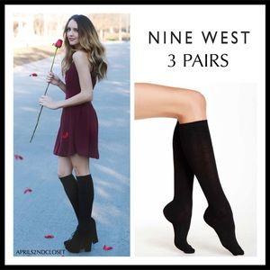 NINE WEST 3 BLACK BOOT SOCKS TALL KNEE HIGH A2C